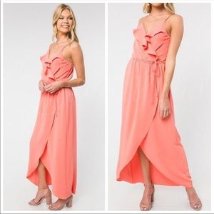 🌸Coral Ruffle Detail High-Low Dress🌸